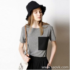 Limited special] inexpensive! Simple large pocket contrast color stitching round neck solid color short-sleeved T-shirt (2 colors