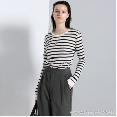 Limited special] cost-effective recommendation! CHAO level comfortable contrast color stripe stitching round neck long-sleeved T-shirt (3 colors