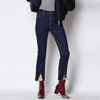 Limited special) high-end homemade high elasticity CHAO was thin hem split jeans 9 pants pants