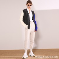Limited special) high-end homemade cost-effective multi-color block color long-sleeved women's wool sweater cardigan coat