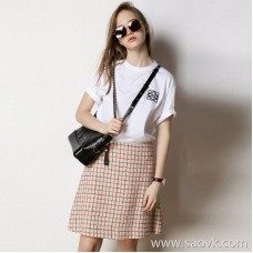 Limited special] chic and durable look contrast color fine grid pattern pattern ladies casual skirt