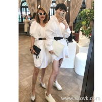Limited special) high-end homemade ECHO recommended closed eyes to receive boyfriend wind 80 high-density long shirt 2 colors