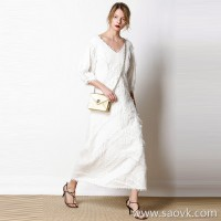 French special romantic holiday style custom fabric cotton elegant white ladies dress long skirt