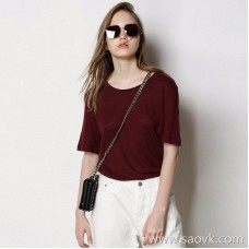 Limited special] ECHO force recommended directly overcharged a few colors round neck solid color short-sleeved pullover ladies linen T-shirt 4 colors