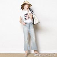 Limited special] Although light color, but good slim pants, kittens must be worn white, micro-la casual ladies jeans