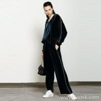 限 特)Shang original factory original fabrics Striped stitching hooded sea blue velvet casual suit on both sides