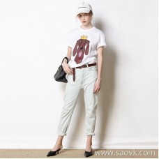 Limit special] Scythe-type slimming tailoring is effortless and effortless Light-colored ladies casual jeans trousers