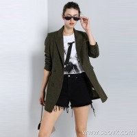Limited special) British JIN mouth fabric herringbone flower niche cuff button embellished long-sleeved blazer (2 colors