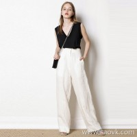 Limited edition) One to one custom Slim high waist design casual wide leg pants trousers