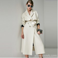 Limited special) small woman style and not handsome handsome beauty double-breasted Australian wool ladies long woolen coat