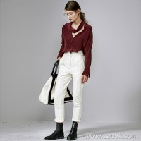 Special special] special craft designer front zipper dotted thin line ladies solid color casual pants