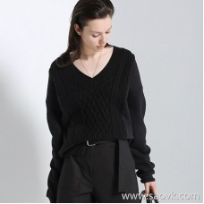 Limit special] CHAO grade cheap and cheap Lingge knit fight sweater fabric V-neck long-sleeved pullover top