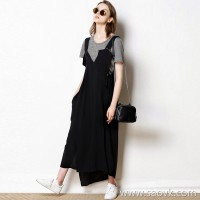 Limited edition) Cost-effective removable two-piece niche designer black split dress