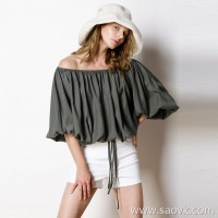 Limited special] high-end homemade luxury CHI custom fabric loose solid color word collar hooded lace shirt (4 colors