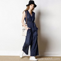 Limited special] high-end homemade large goods V-neck up 1CM to see comfortable cowboy wide-leg jumpsuit (3 colors