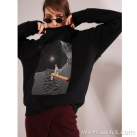 Limited special] high cost performance soft and comfortable wearing night sky pattern female round neck long sleeve pullover sweater 4 colors