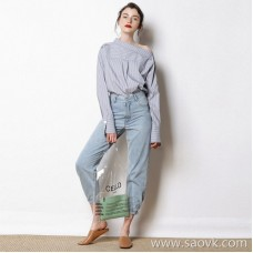 Limited to the new stylish and new look Yarn fabric striped special collar Sleeve button embellished long-sleeved shirt