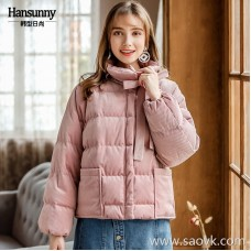 Short corduroy down jacket 2018 autumn and winter new women's thickening fashion lace collar retro winter jacket