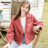 Short woolen coat female 2018 autumn and winter clothing new suit lapel short jacket double-breasted coat
