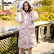 Retro corduroy down jacket 2018 winter new women's white duck down hooded fur collar long section plus velvet jacket