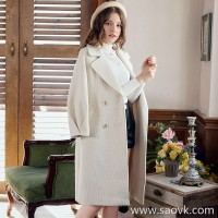 Houndstooth woolen coat female 2018 winter new suit lapel in the long section of the lantern sleeves popular woolen coat