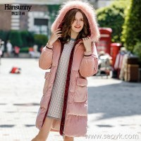 In the long section down jacket female 2018 winter new plus velvet warm hooded large fur collar corduroy loose thick coat