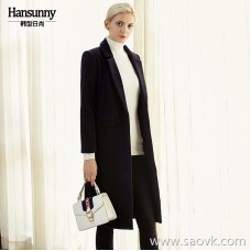 Broken code in the long woolen coat female 2018 autumn and winter dress silhouette was thin and long paragraph over the knee plus cotton temperament coat