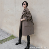 Sandro Moscoloni double-faced cashmere coat women's long section 2018 new autumn loose woolen coat winter