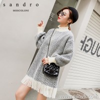 Sandro Moscoloni 2018 autumn and winter new Korean version of the woolen skirt in the long paragraph bottoming dress
