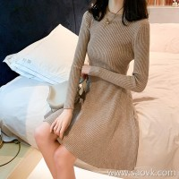 Sandro Moscoloni Knit Sweater Base Dress Winter New Joker Slim Temperament A-Line Skirt