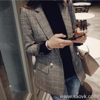 Sandro Moscoloni plaid small suit female jacket Korean version 2018 new slim British versatile suit