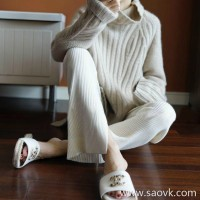 Sandro Moscoloni 慵 lazy cashmere turtleneck sweater female loose winter new Korean version of the pullover top