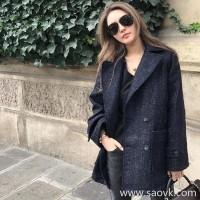 Sandro Moscoloni small suit female jacket Korean version 2018 autumn and winter new temperament wild woolen coat
