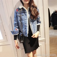Sandro Moscoloni Embroidered Denim Jacket Autumn Winter Women 2018 New Korean Slim Joker Top