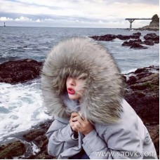 Sandro Moscoloni big fur collar long fashion down jacket female 2018 winter new thick coat