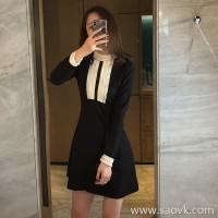 Sandro Moscoloni autumn women 2018 new lace stitching small black dress long sleeve bottoming dress