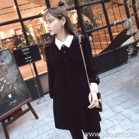 Sandro Moscoloni autumn dress 2018 new women's temperament was thin long sleeves bottoming small black dress