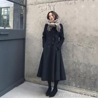 Sandro Moscoloni black woolen coat female long temperament waist Hepburn wind wool coat winter
