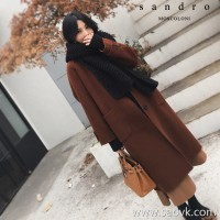 Sandro Moscoloni double-faced cashmere coat women's long section autumn and winter new loose high-end woolen coat
