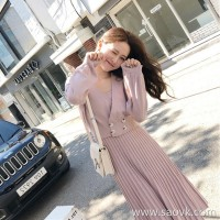 Sandro Moscoloni autumn women's 2018 new dress with two sets of temperament knit dress set