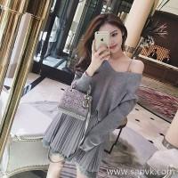 Sandro Moscoloni Autumn Women's 2018 New Dress Two-Piece Loose Sweater Tank Dress Set