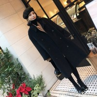 Sandro Moscoloni 2018 winter new wool woolen coat double-breasted long knee coat
