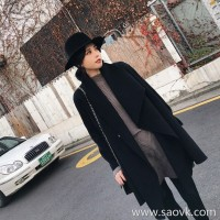 Sandro Moscoloni double-faced cashmere coat female long section 2018 new irregular woolen coat winter