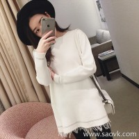 Sandro Moscoloni small fragrance tassel long-sleeved knit sweater bottoming dress 2018 new autumn clothing