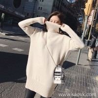 Sandro Moscoloni high neck cashmere sweater women 2018 new loose hooded bottoming dress