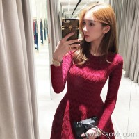 Sandro Moscoloni knit dress female Korean version 2018 autumn and winter new waist slimming red skirt