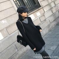 Sandro Moscoloni knit dress female Korean version 2018 new wild long section slim bottoming skirt