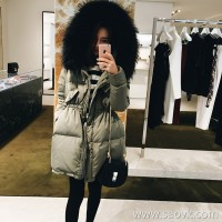 Sandro Moscoloni big fur collar down jacket female winter new long section slim waist thick coat