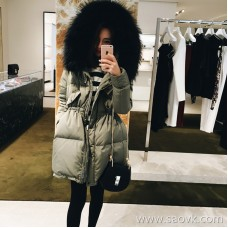Sandro Moscoloni big fur collar down jacket female winter new long section slim waist thick coat