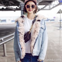 Sandro Moscoloni denim jacket female Korean version 2018 autumn and winter new real wool sheep beach fur grass short section